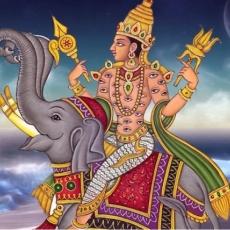 Indra deva on elephant